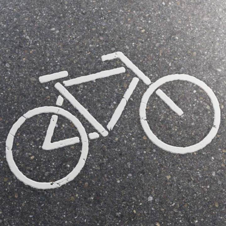 Preview render of the PBR texture Bike Road Marking 01
