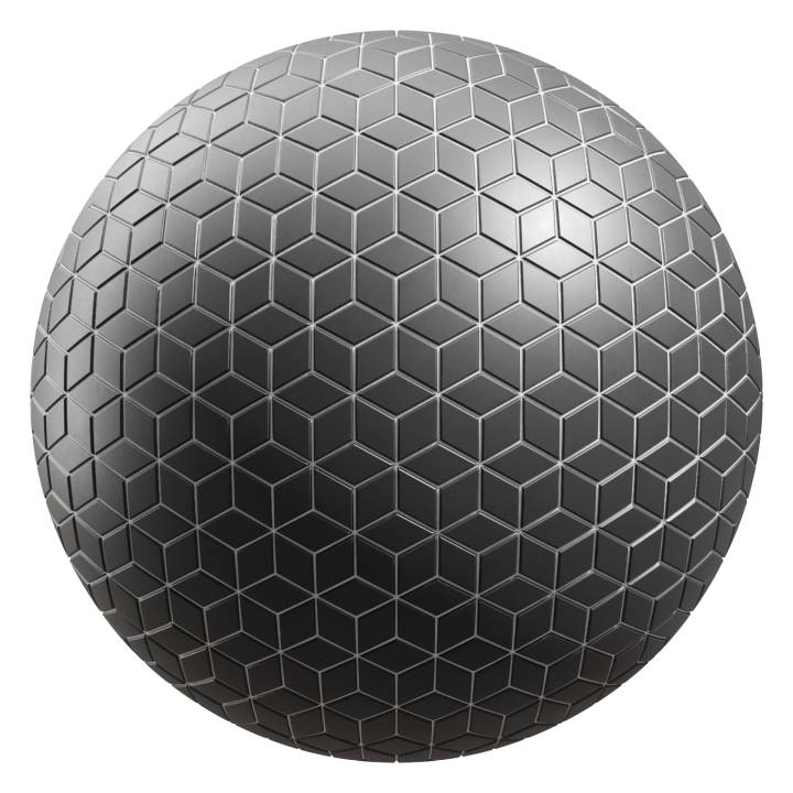 Preview render of the PBR texture Black Tiles 01