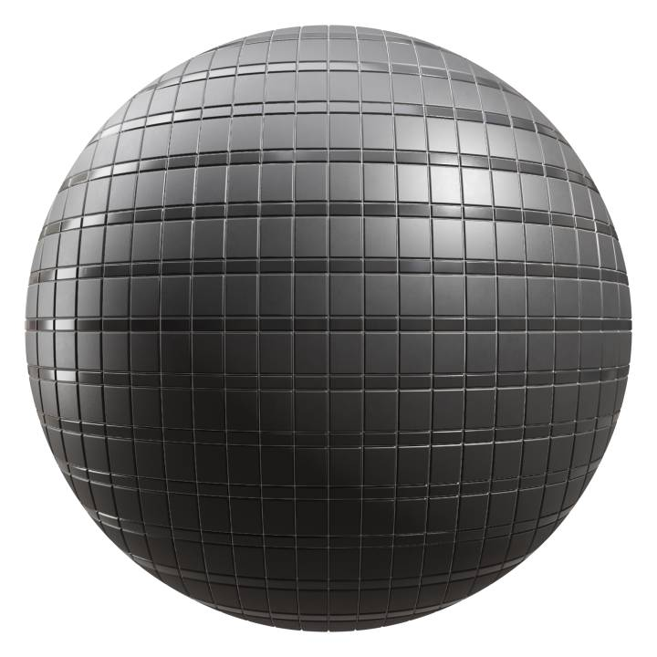 Preview render of the PBR texture Black Tiles 03