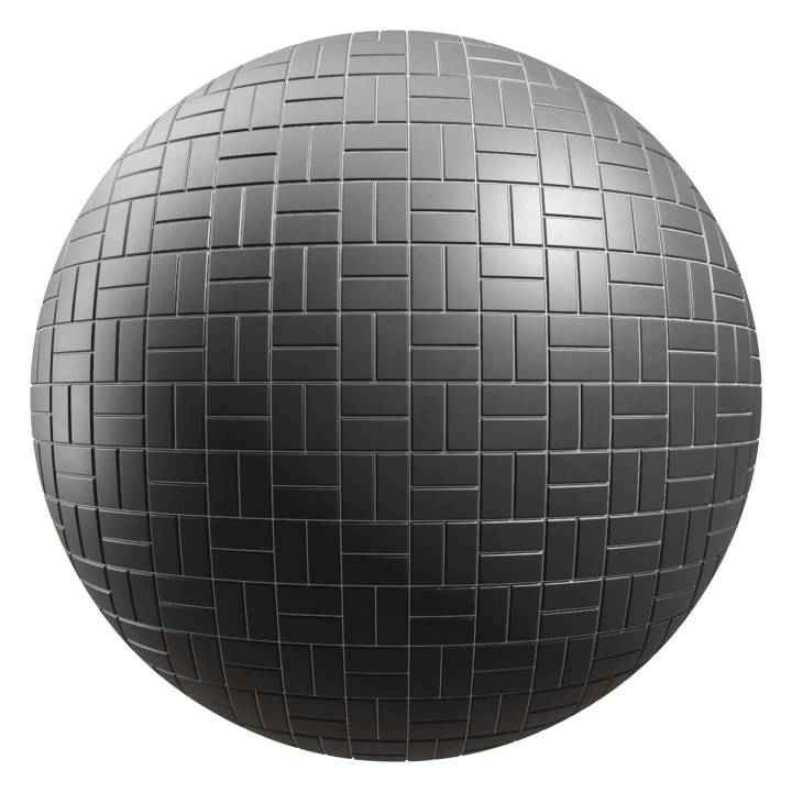 Preview render of the PBR texture Black Tiles 06