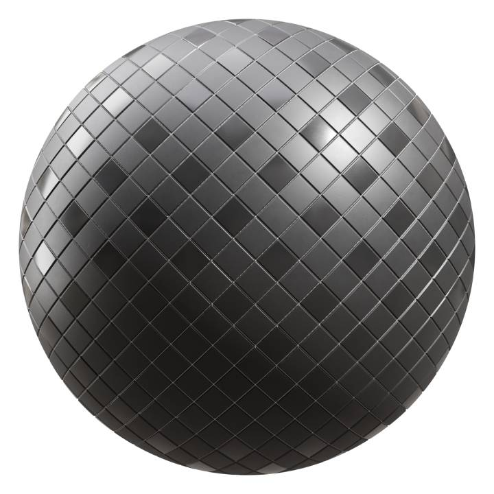 preview render of the free PBR material Black Tiles 07 (cc0 texture)