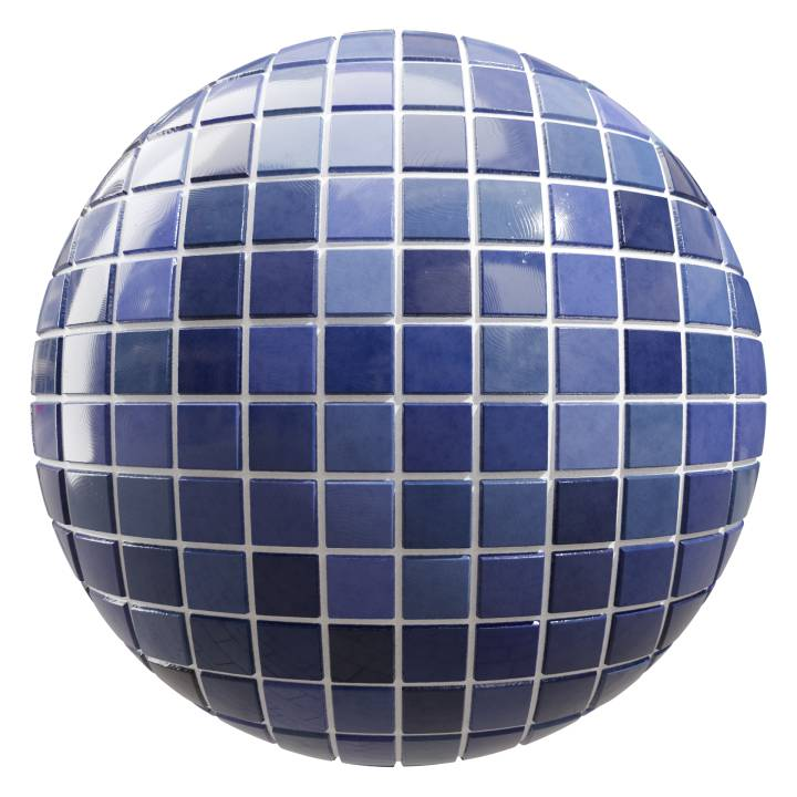 Preview render of the PBR texture Blue Tiles 01