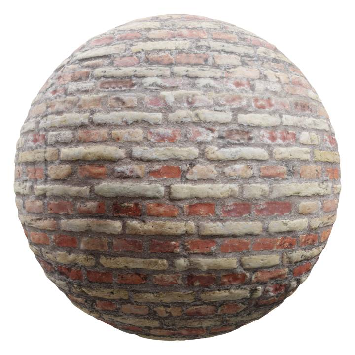 Preview render of the PBR texture Brick Wall 01