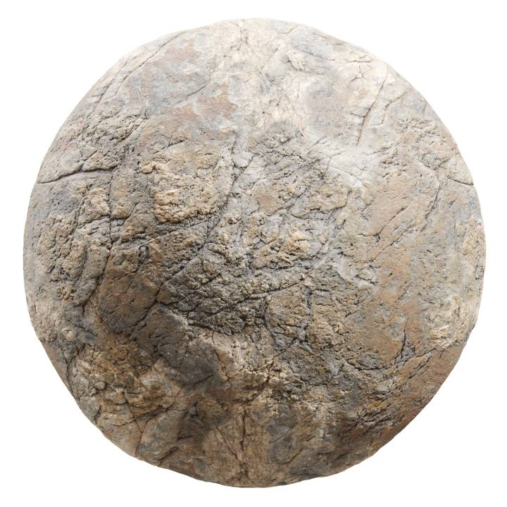 Preview render of the PBR texture Brown Rock 02