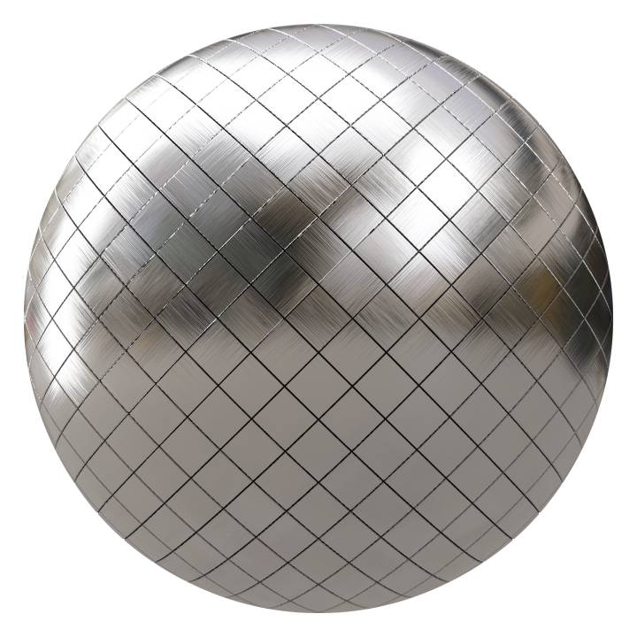 Preview render of the PBR texture Brushed Metal Tiles 01