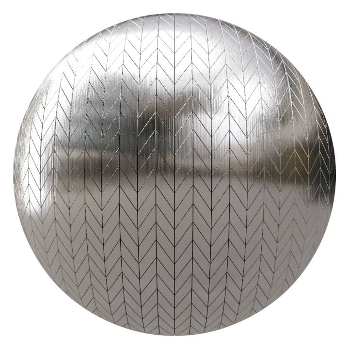 Preview render of the PBR texture Brushed Metal Tiles 03