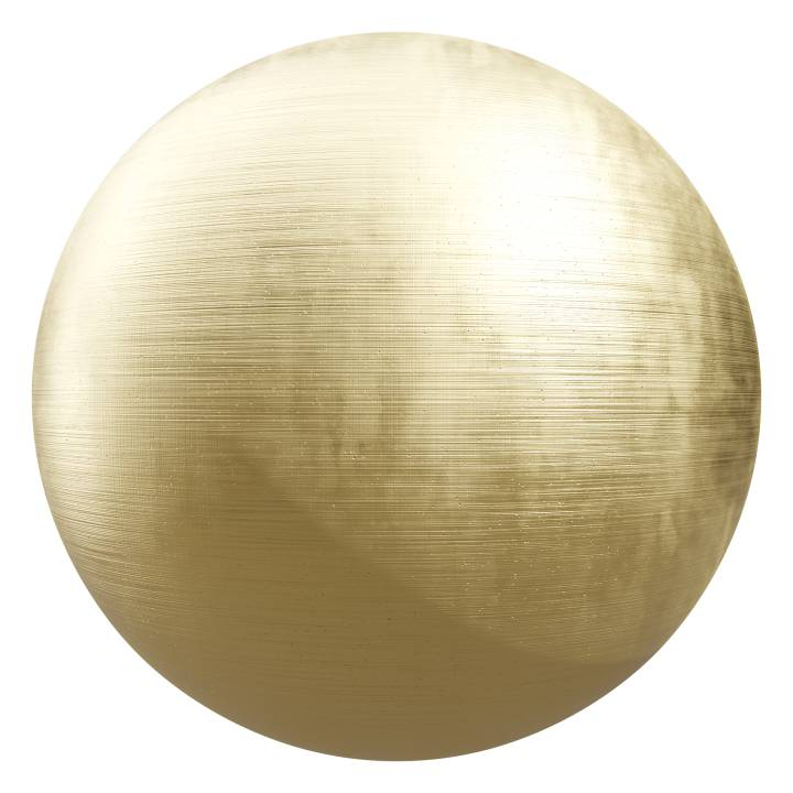 Preview render of the PBR texture Brushed Gold 01