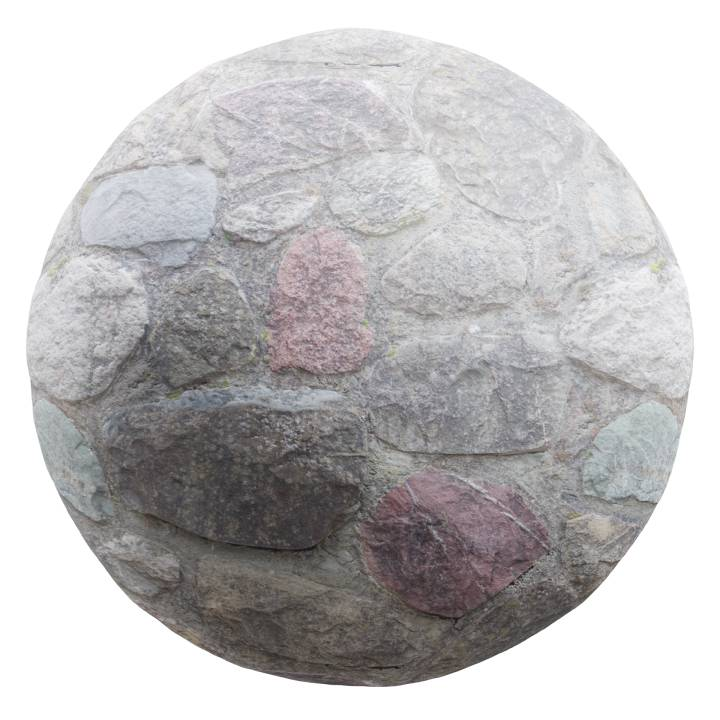 Preview render of the PBR texture Cobblestone Wall 01