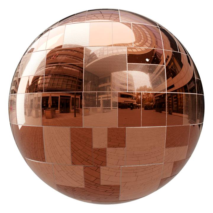 Preview render of the PBR texture Copper Tiles 01
