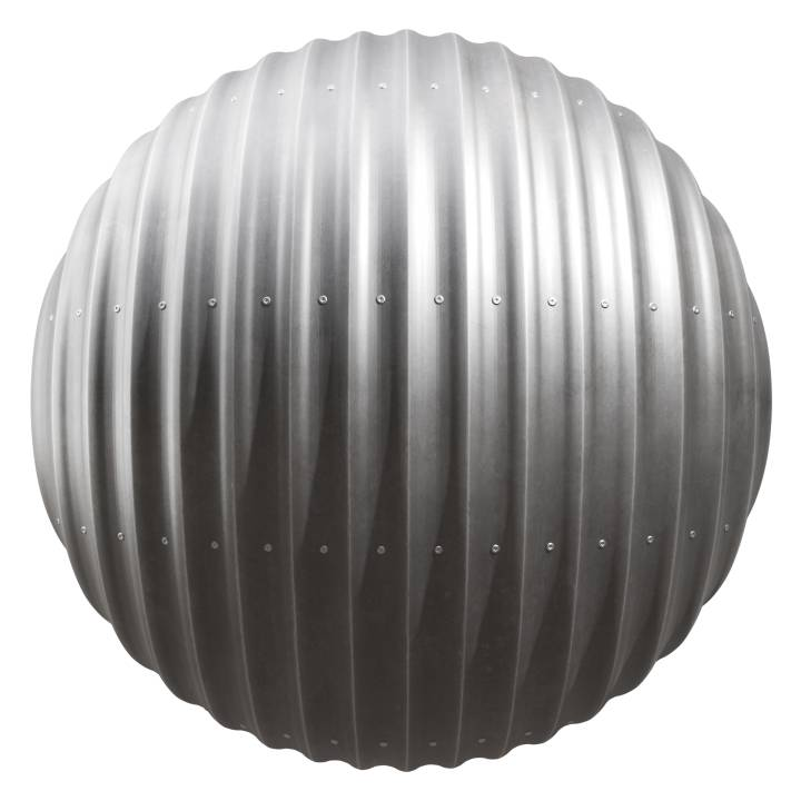 Preview render of the PBR texture Corrugated Metal Panel 02