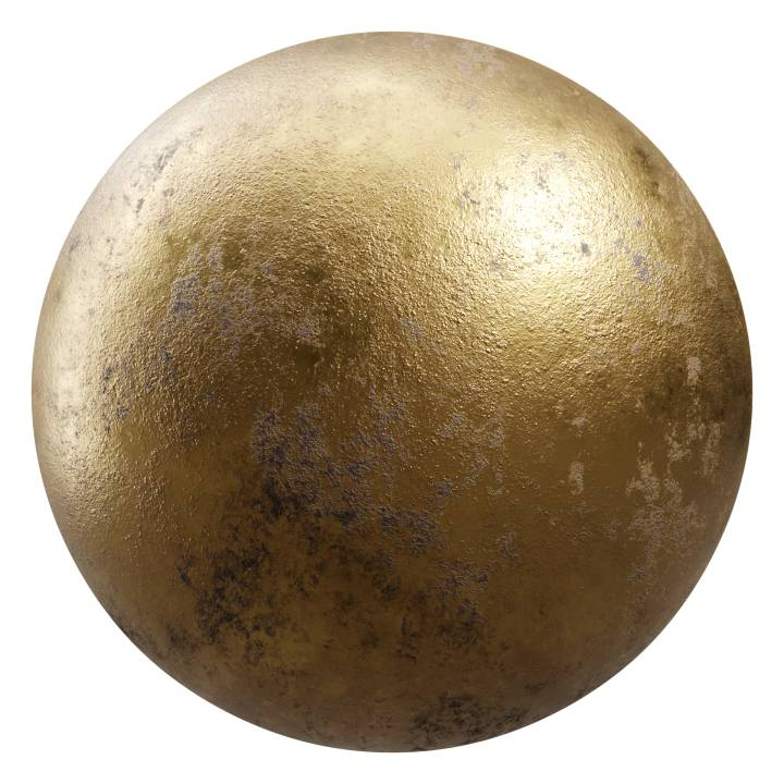 Preview render of the PBR texture Dirty Gold 01