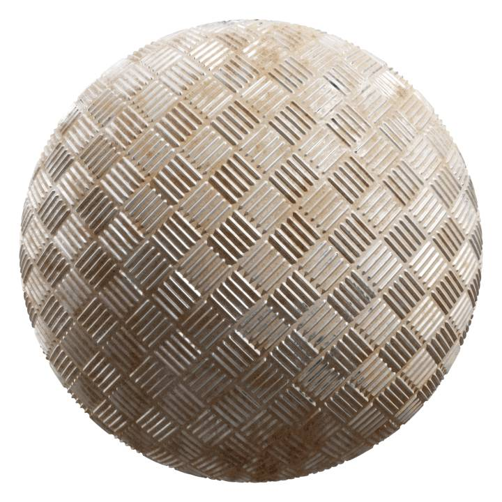 Preview render of the PBR texture Dirty Metal Weave 01