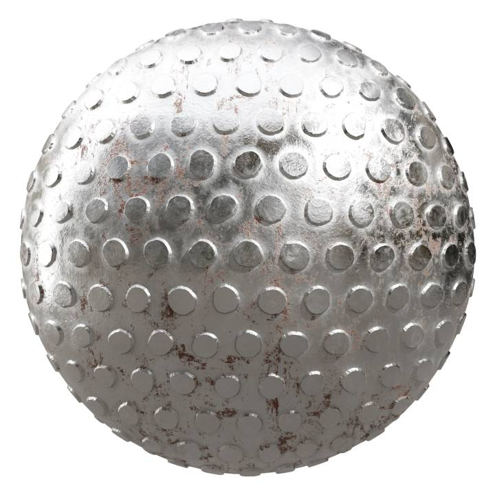 Preview render of the PBR texture Dirty Metal Weave 04