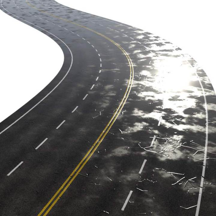 Preview render of the PBR texture Four Lane Road Wet 01