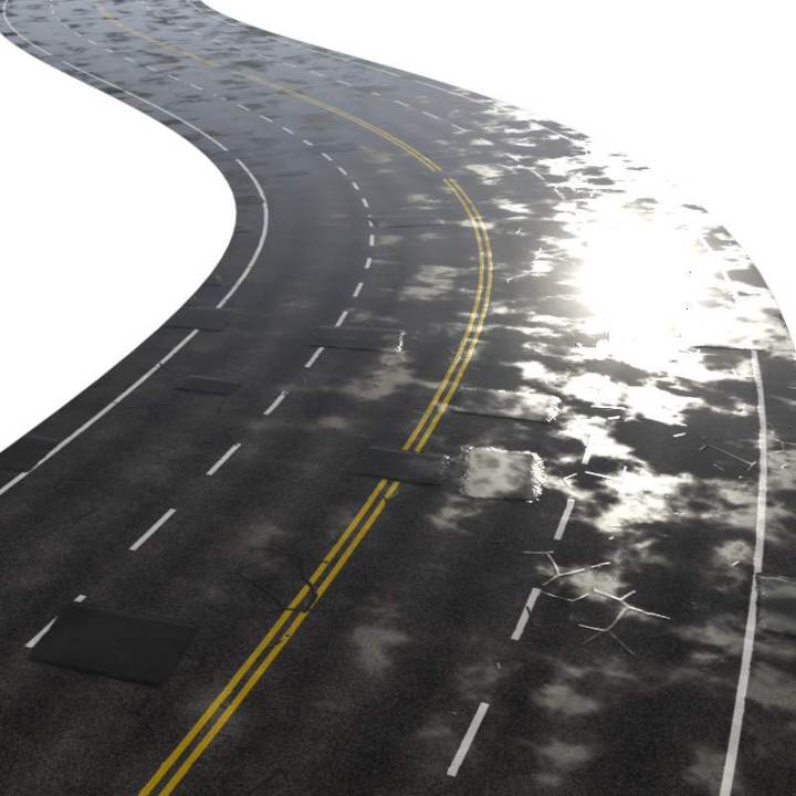 Preview render of the PBR texture Four Lane Road Wet 02