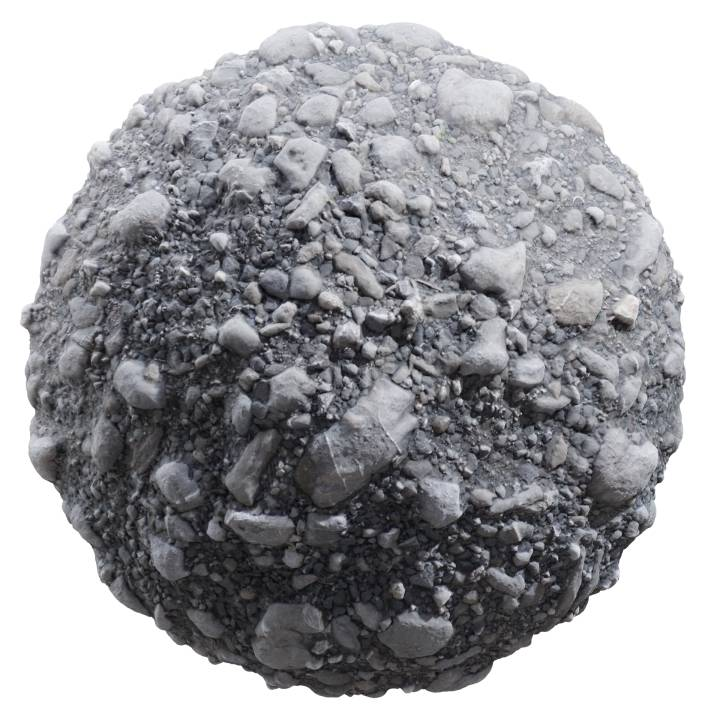 preview render of the free PBR material Gravel Big 01 (cc0 texture)