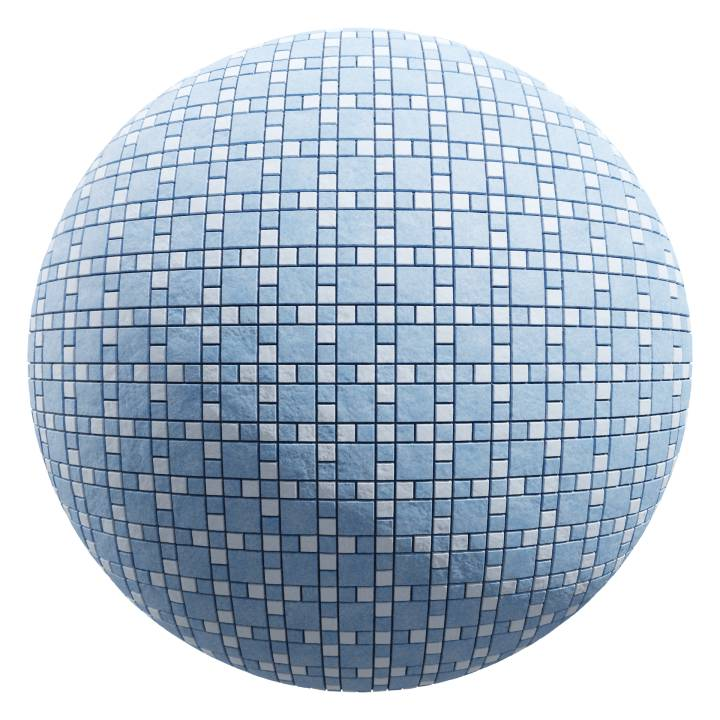 preview render of the free PBR material Stepping Stone Tiles 06 (cc0 texture)