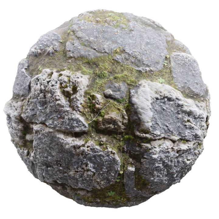 Preview render of the PBR texture Stone Wall 03