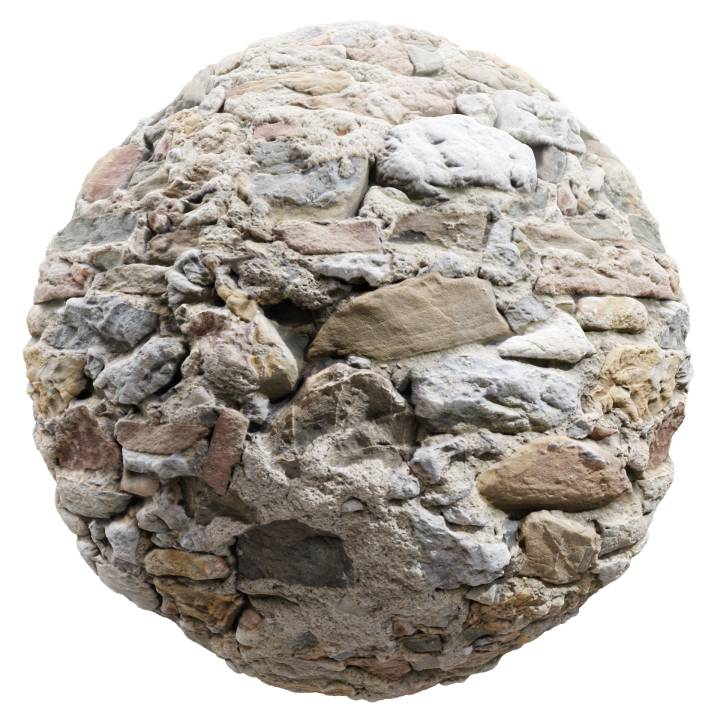 Preview render of the PBR texture Stone Wall 04