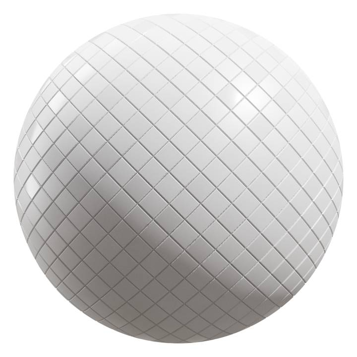 Preview render of the PBR texture White Tiles 01