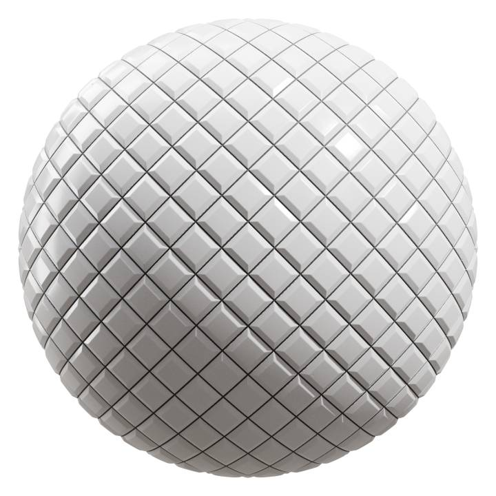 Preview render of the PBR texture White Tiles 06