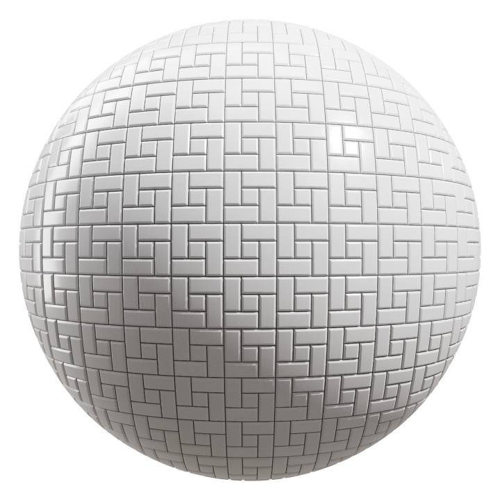 Preview render of the PBR texture White Tiles 07
