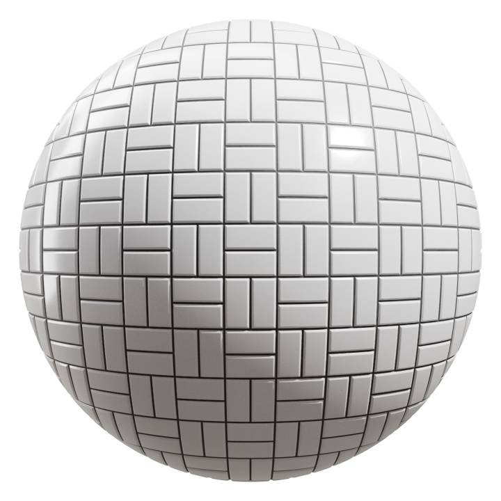 Preview render of the PBR texture White Tiles 08