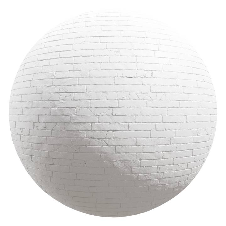 Preview render of the PBR texture White Brick Wall 01